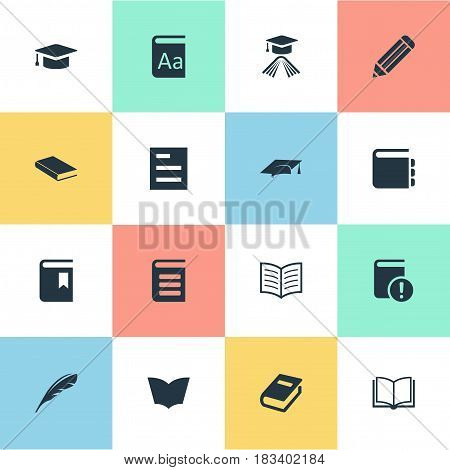 Vector Illustration Set Of Simple Education Icons. Elements Encyclopedia, Plume, Academic Cap And Other Synonyms Alphabet, Encyclopedia And Blank.