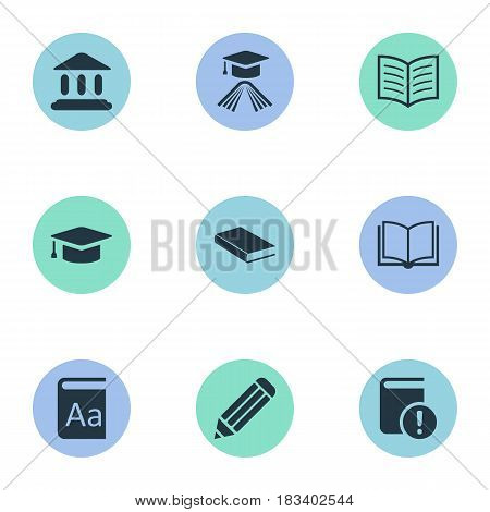 Vector Illustration Set Of Simple Books Icons. Elements Book Page, Academic Cap, Important Reading And Other Synonyms Academy, Academic And Writing.