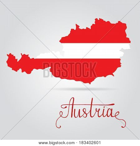 Map of Austria with an official flag. Illustration on white background. Illustration of Austria flag on map of country
