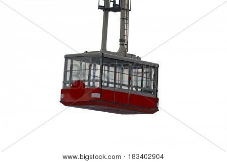 Cable car isolated on white