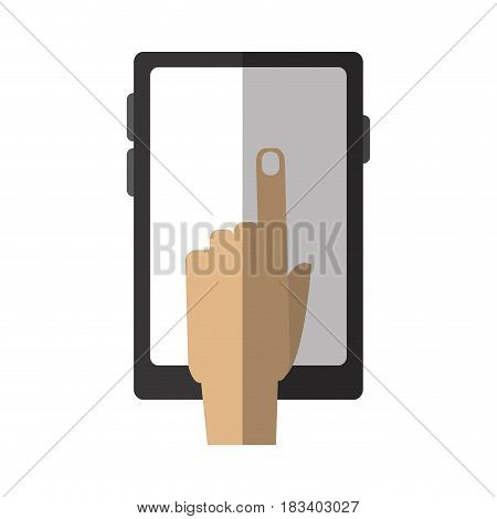 hand tapping modern cellphone with blank screen icon image vector illustration design