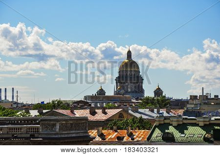 St. Isaac's Cathedral towers over the old houses of St. Petersburg