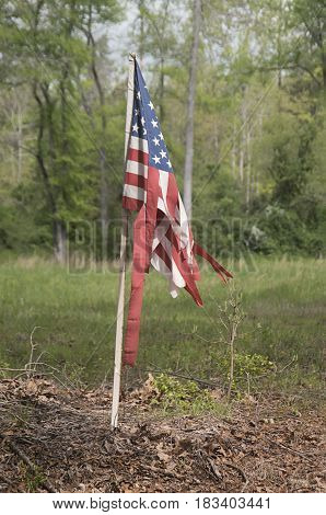 A United States Flag is torn and tattered but still standing along a roadway in Western North Carolina