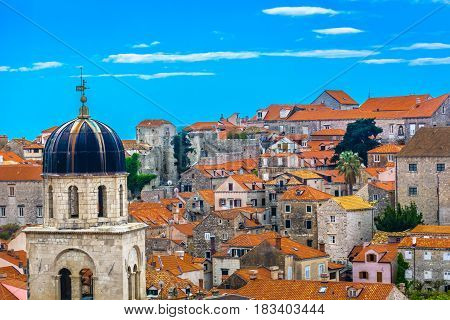 Aerial view on old town architecture in city center of Dubrovnik, Croatia, european travel resorts.