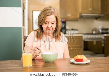 Senior Adult Woman Forced To Eat