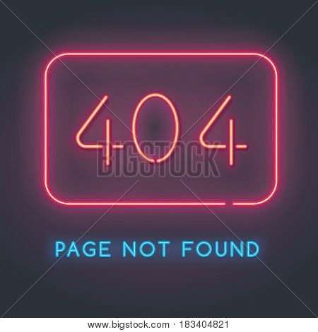 Error 404 page not found. Neon sign with the error code. Bright backlight