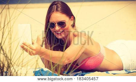 Happy Girl Taking Selfie Photo On Beach.