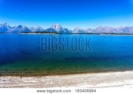 Landscape of Jackson Lake with the Teton Mountain Range in Grant Teton National Park in Wyoming
