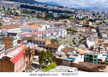 Cityscape of Quito Ecuador as seen from the Basilica of the National Vow