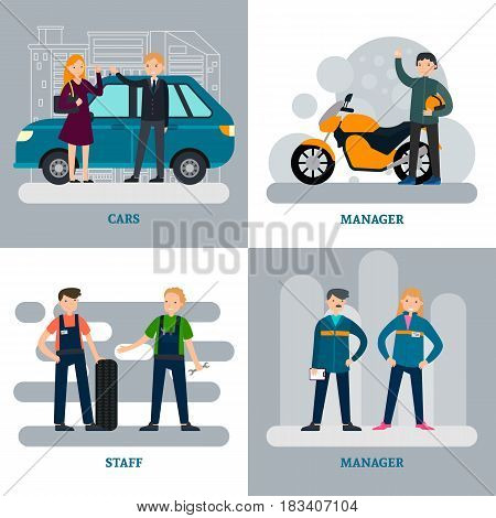 Car repair square concept with clients and professional workers of auto moto and tire services vector illustration