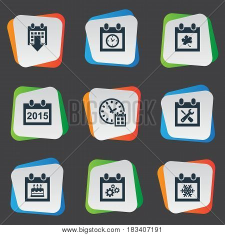 Vector Illustration Set Of Simple Plan Icons. Elements Leaf, History, Annual And Other Synonyms Planner, Birthday And Annual.