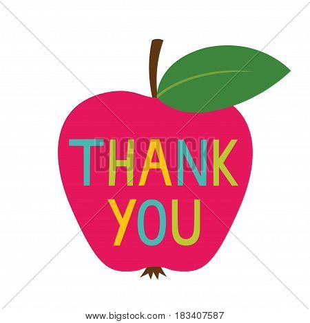 Teacher's Day Thank You card with an apple