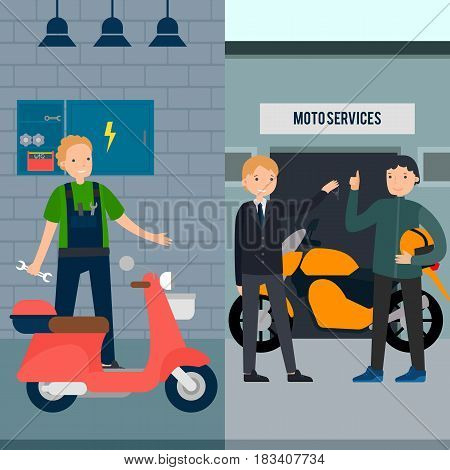 People in moto service vertical banners with mechanic manager and client in flat style vector illustration