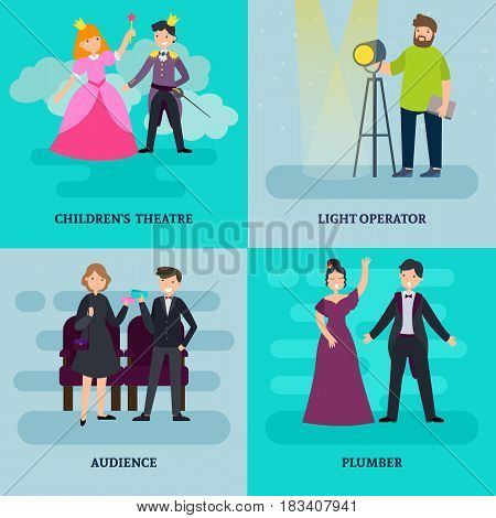 People in theatre square composition with light operator artists audience and children actors vector illustration