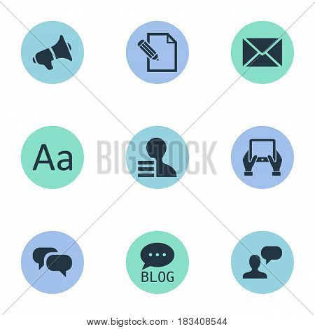 Vector Illustration Set Of Simple User Icons. Elements Man Considering, Document, Cedilla And Other Synonyms Forum, Loudspeaker And Earnings.