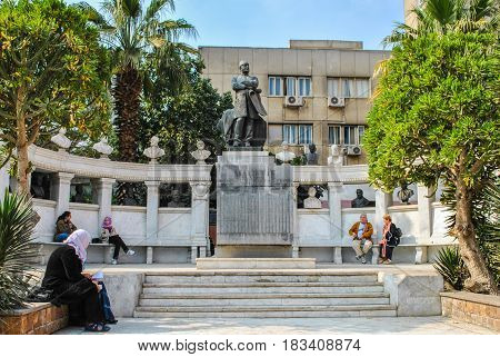 Cairo, Egypt - January 20, 2011: Monument in the territory of the Cairo Museum in Egypt