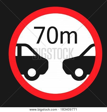 Minimum distance 70m flat icon, Traffic and road sign, vector graphics, a solid pattern on a black background, eps 10.