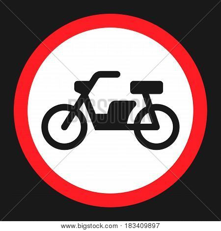 No motorcycle prohibition sign flat icon, Traffic and road sign, vector graphics, a solid pattern on a black background, eps 10.
