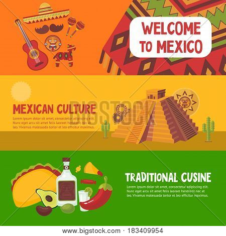 Colorful mexico horizontal banners with mexican cuisine cultural traditional and aztec antique elements vector illustration