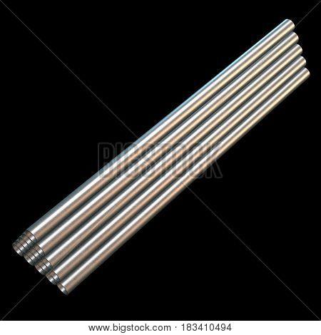 Stack of steel metal pipes. 3d render on black