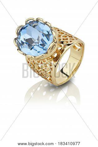 Golden ring whith big aquamarine isolated on white