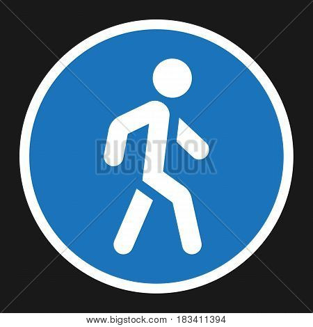 Footpath sign flat icon, Traffic and road sign, vector graphics, a solid pattern on a black background, eps 10