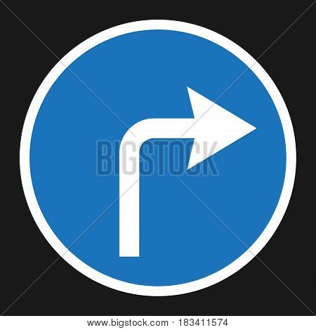 Turn right arrow sign flat icon, Traffic and road sign, vector graphics, a solid pattern on a black background, eps 10