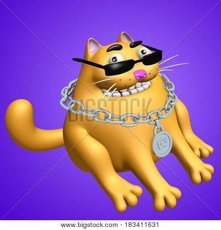 Funny orange fat sphinx cat in black glasses and silver medallion. 3D illustration. Cute cartoon character.