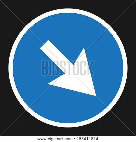 detour to the right sign flat icon, Traffic and road sign, vector graphics, a solid pattern on a black background, eps 10