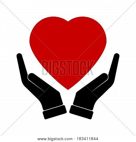 Health Care Center Icon. Flat Design. Isolated Illustration. Two hands holding a heart with a cross on it.