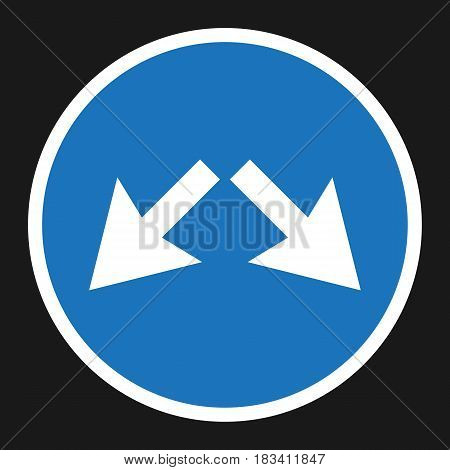 Detour right or left sign flat icon, Traffic and road sign, vector graphics, a solid pattern on a black background, eps 10