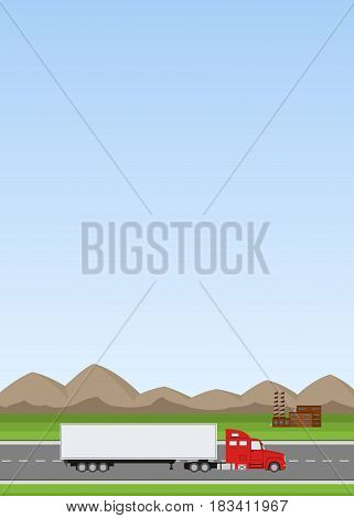 Truck on the road. Industrial and mountains landscape. Heavy trailer truck. Logistic and delivery concept. Vector illustration.