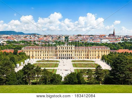 Beautiful View Of Famous Schoenbrunn Palace With Great Parterre Garden In Vienna, Austria