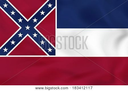 Mississippi Waving Flag. Mississippi State Flag Background Texture.