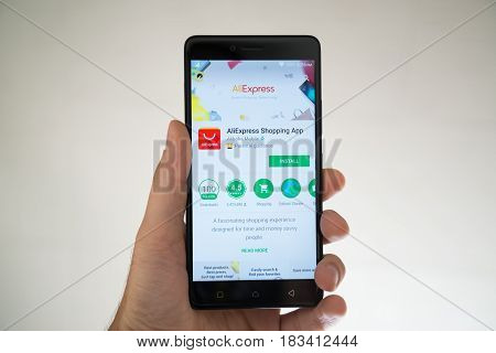 Paris, France, april 22, 2017: Aliexpress application on google play store on smartphone