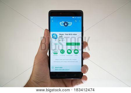 Paris, France, april 22, 2017: Skype application on google play store on smartphone
