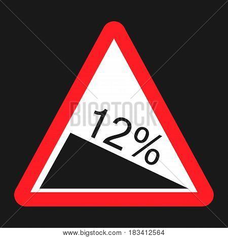 Steep descent sign flat icon, Traffic and road sign, vector graphics, a solid pattern on a black background, eps 10