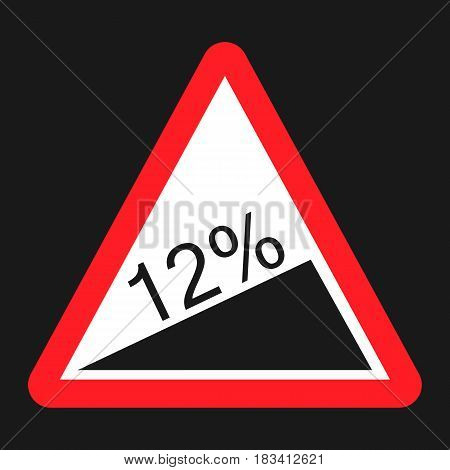 Steep climb sign flat icon, Traffic and road sign, vector graphics, a solid pattern on a white background, eps 10