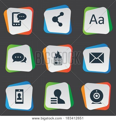 Vector Illustration Set Of Simple Blogging Icons. Elements E-Letter, Gazette, Profile And Other Synonyms Hot, Man And Gazette.