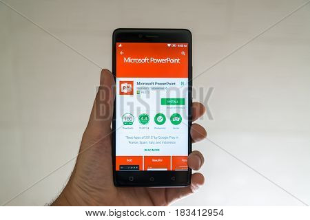 Paris, France, april 22, 2017: Microsoft powerpoint application on google play store on smartphone