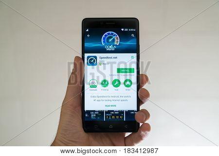 Paris, France, april 22, 2017: Speedtest.net application on google play store on smartphone