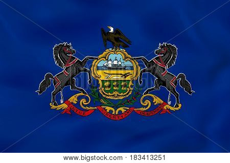 Pennsylvania Waving Flag. Pennsylvania State Flag Background Texture.