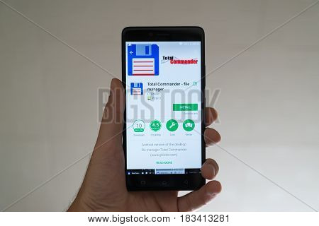 Paris, France, april 22, 2017: Total commander application on google play store on smartphone