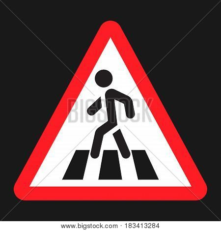 Pedestrian crossing and crosswalk sign flat icon, Traffic and road sign, vector graphics, a solid pattern on a black background, eps 10
