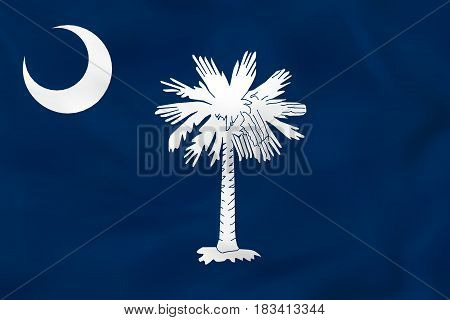 South Carolina Waving Flag. South Carolina State Flag Background Texture.