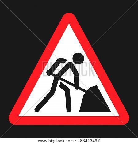 Road works sign flat icon, Traffic and road sign, vector graphics, a solid pattern on a black background, eps 10
