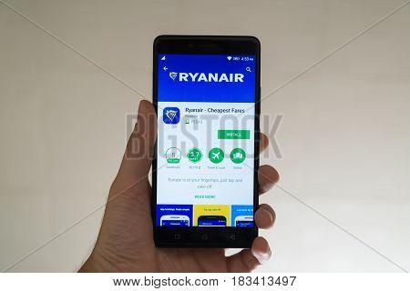 Paris, France, april 22, 2017: Ryanair application on google play store on smartphone