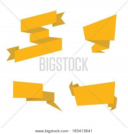 Gold ribbons isolated. Collection of yellow ribbons template