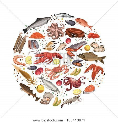 Colorful sketch seafood products round concept with sea and ocean animals fishes and fruits vector illustration