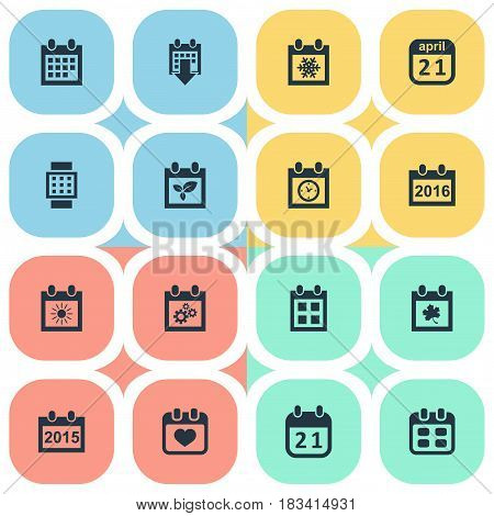 Vector Illustration Set Of Simple Date Icons. Elements Intelligent Hour, 2016 Calendar, Leaf And Other Synonyms Block, Snowflake And Date.